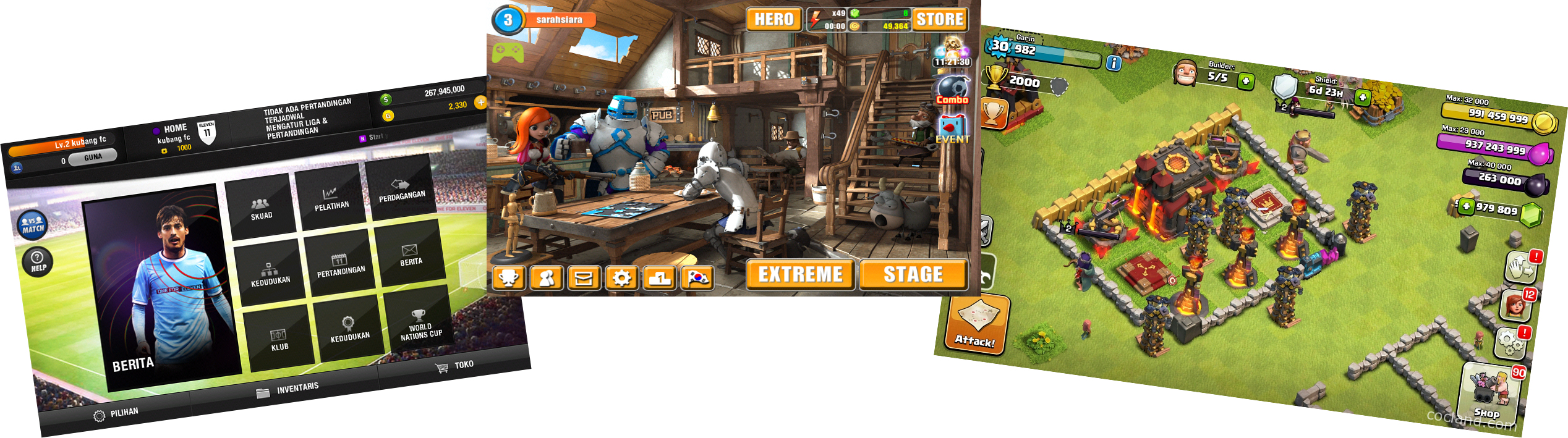 Ilustrasi game pada Android. Kiri: One for Eleven (sumber: koleksi pribadi), tengah: OnionKnight (sumber: koleksi pribadi), kanan: Clash of Clans (sumber: http://cocland.com/tutorials/create-clash-clans-private-server)