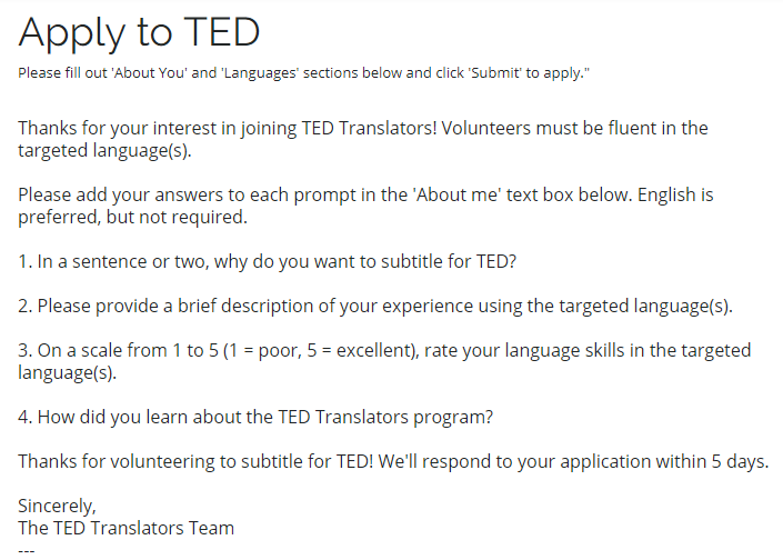 apply to TED