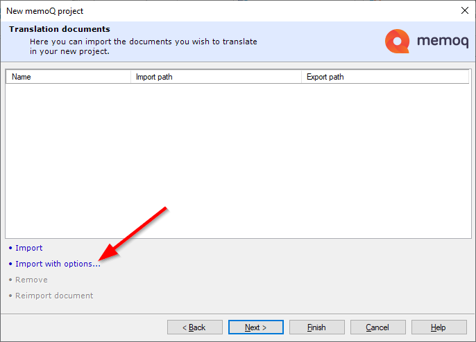 Import with option in memoQ