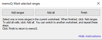Marking selected ranges in Excel