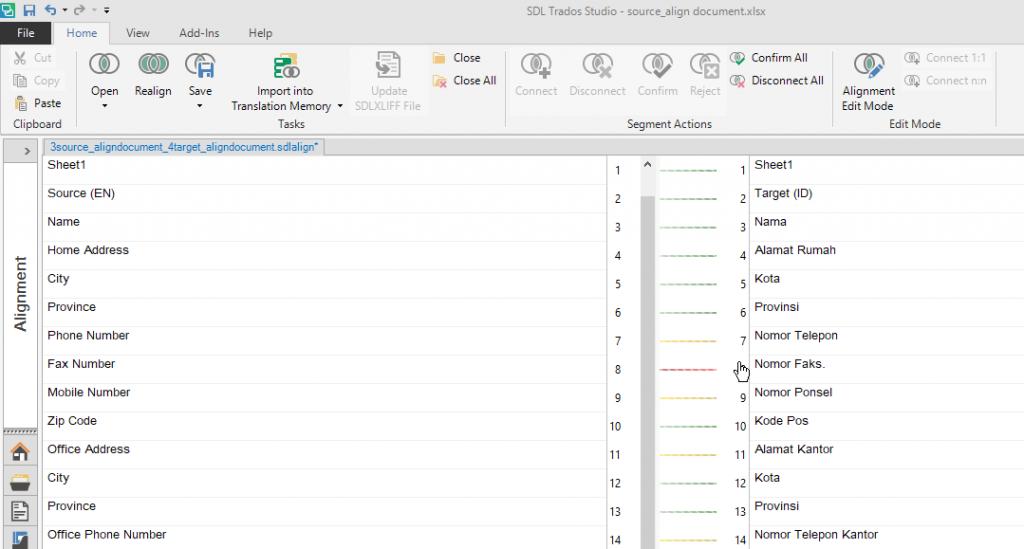 align document in trados